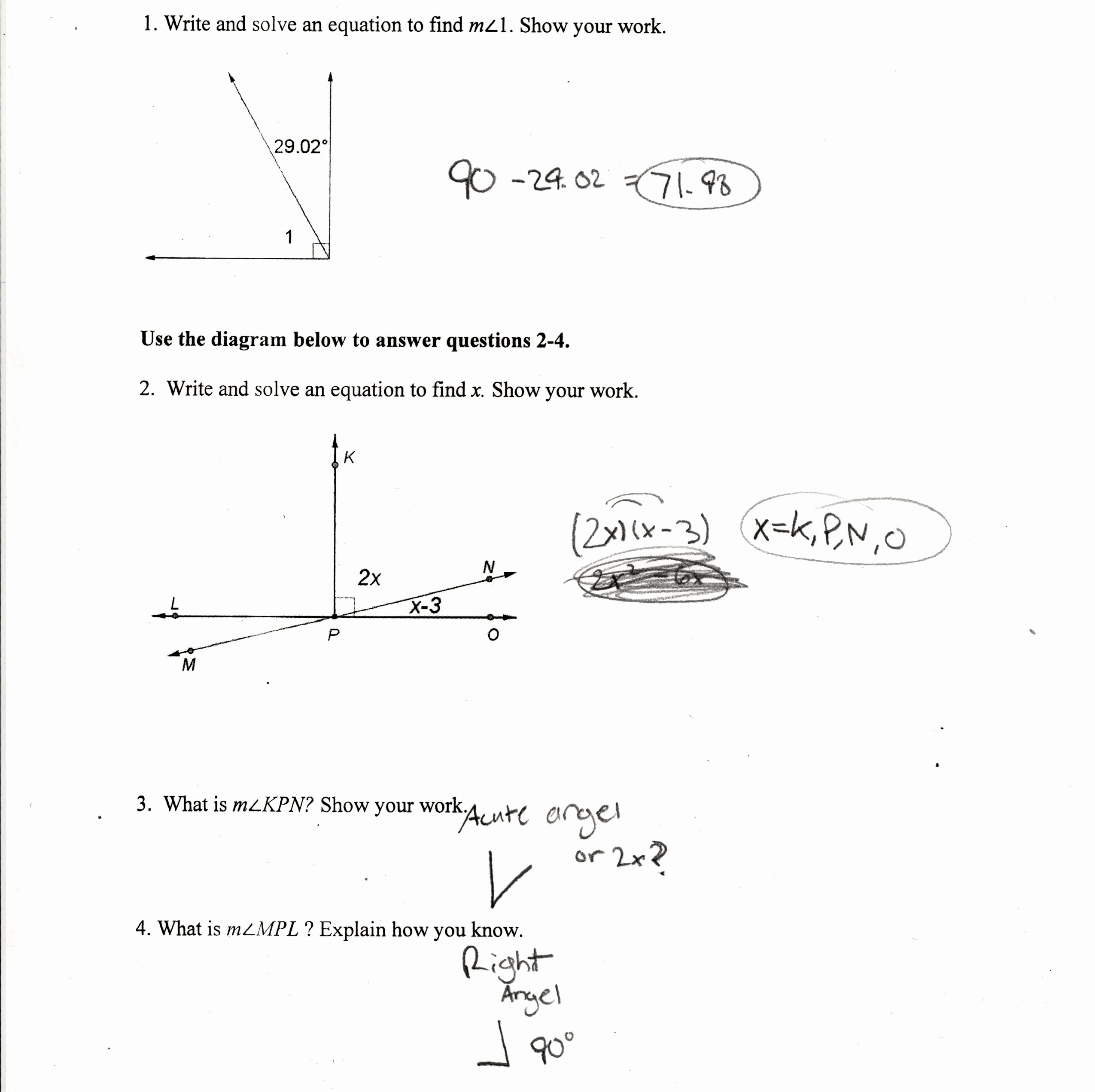 Finding Angle Measures Worksheet Luxury Find the Measure Each Angle Indicated Worksheet Answers