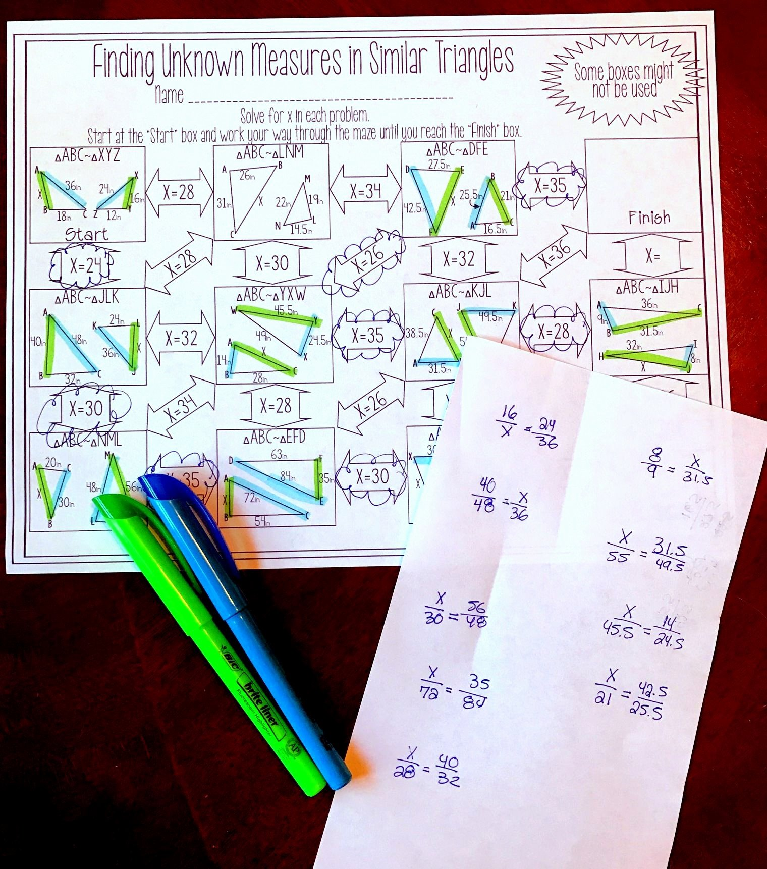 Finding Angle Measures Worksheet New Finding Unknown Measures In Similar Triangles Maze