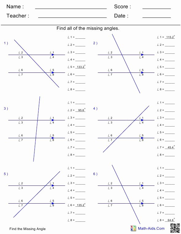 Finding Missing Angles Worksheet Awesome Geometry Spencer County Middle 7th Grade Math