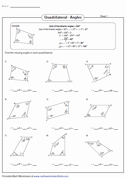 Finding Missing Angles Worksheet Awesome Quadrilateral Worksheets