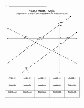 Finding Missing Angles Worksheet Beautiful Finding Missing Angle Measures Challenge