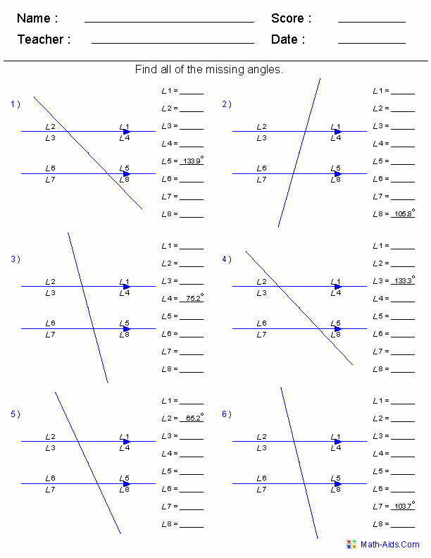 Finding Missing Angles Worksheet Best Of 8 Best Of Angles Worksheets Grade 8 Missing Angle