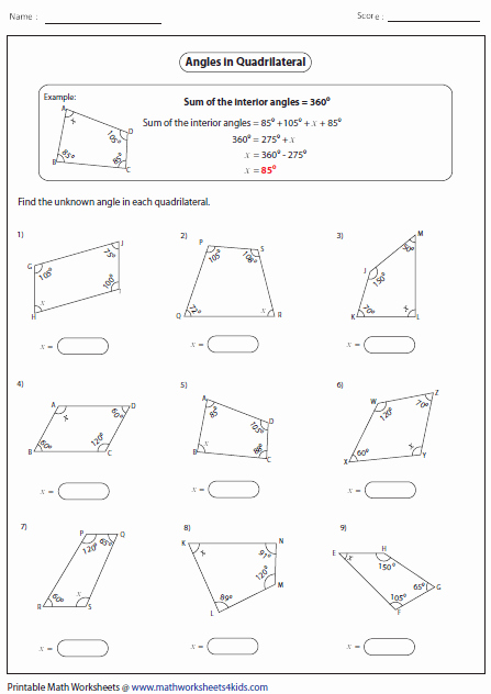 Finding Missing Angles Worksheet Best Of Missing Angle Quadrilaterals Math Pinterest