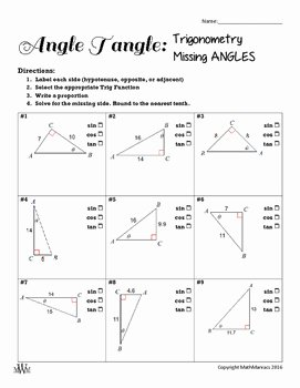 Finding Missing Angles Worksheet Inspirational Angle Tangle Find Missing Angles with Trig by Math