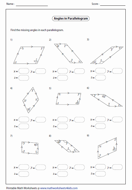 Finding Missing Angles Worksheet Inspirational Quadrilateral Worksheets