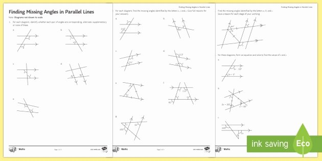 Finding Missing Angles Worksheet Unique Finding Missing Angles In Parallel Lines Worksheet