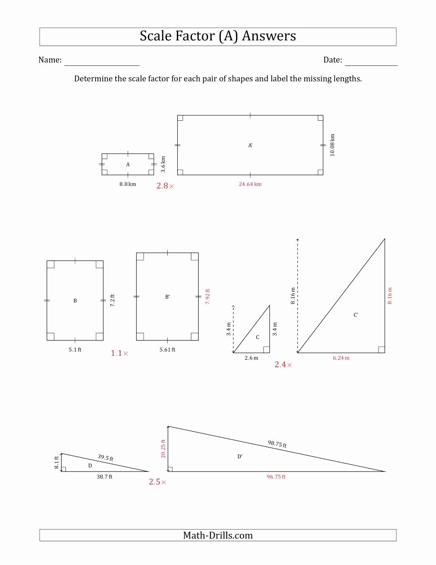 Finding Scale Factor Worksheet Beautiful Determine the Scale Factor Between Two Shapes and