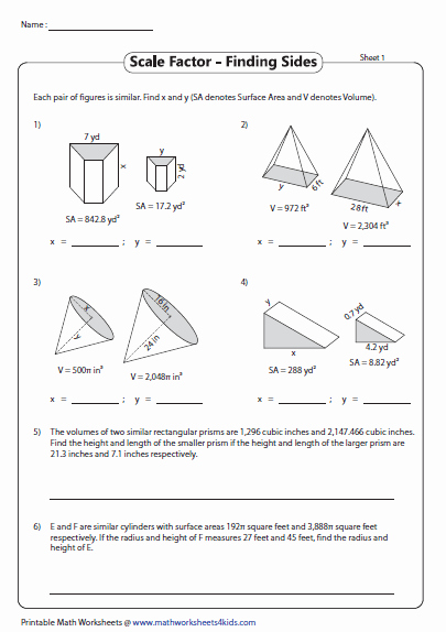 Finding Scale Factor Worksheet Fresh Find the Sides Of Similar Figures