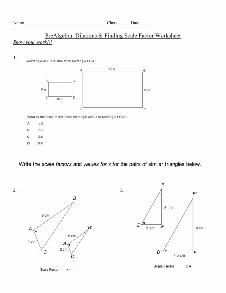 Finding Scale Factor Worksheet Lovely Pa Finding Scale Factor Worksheet