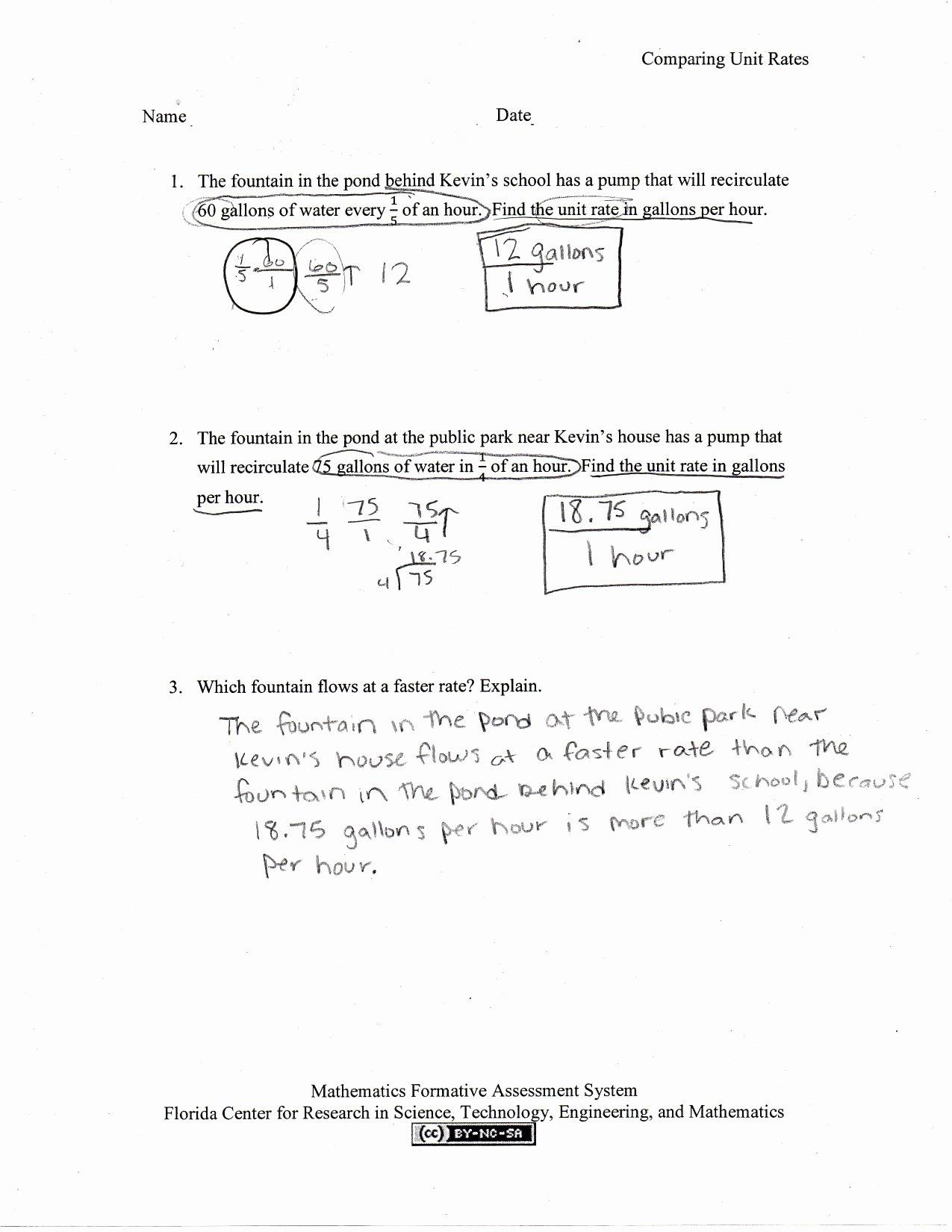 Finding Unit Rates Worksheet Inspirational Paring Unit Rates