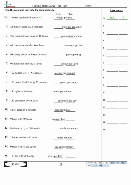 Finding Unit Rates Worksheet Unique Unit Rate Worksheet