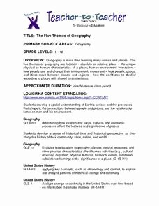 Five themes Of Geography Worksheet Luxury Five themes Of Geography 9th 12th Grade Lesson Plan