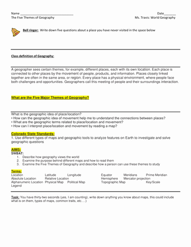 Five themes Of Geography Worksheet Unique 5 themes Of Geography Location and Maps Powerpoint