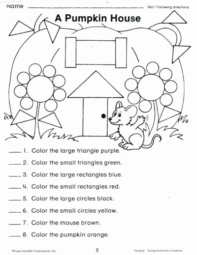 Following Directions Worksheet Kindergarten Awesome 16 Best Of Free Following Directions Worksheets