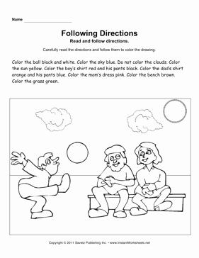 Following Directions Worksheet Kindergarten Awesome Following Directions Preschool