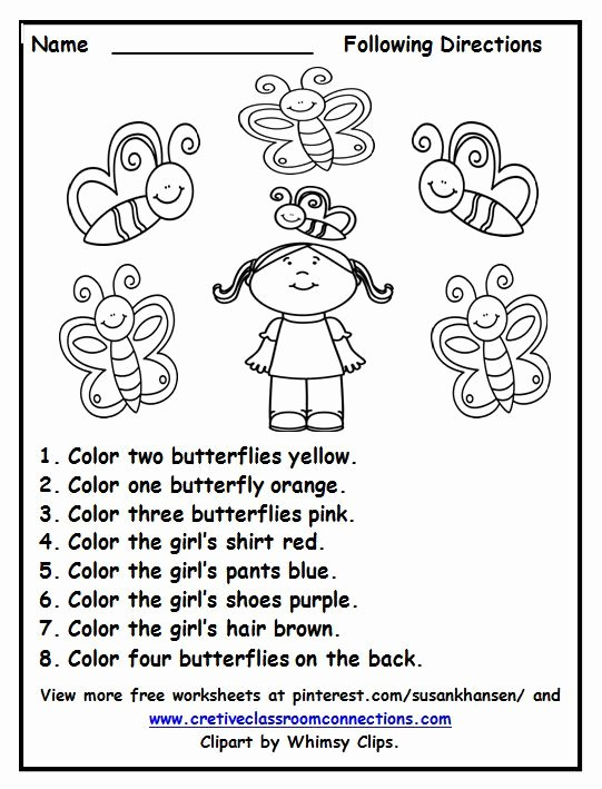 Following Directions Worksheet Kindergarten Awesome Free Following Directions Worksheet with Color Words