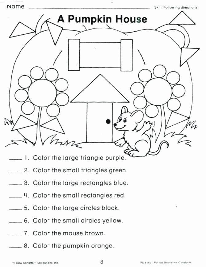 Following Directions Worksheet Kindergarten Awesome Free Following Directions Worksheets – Kinchen