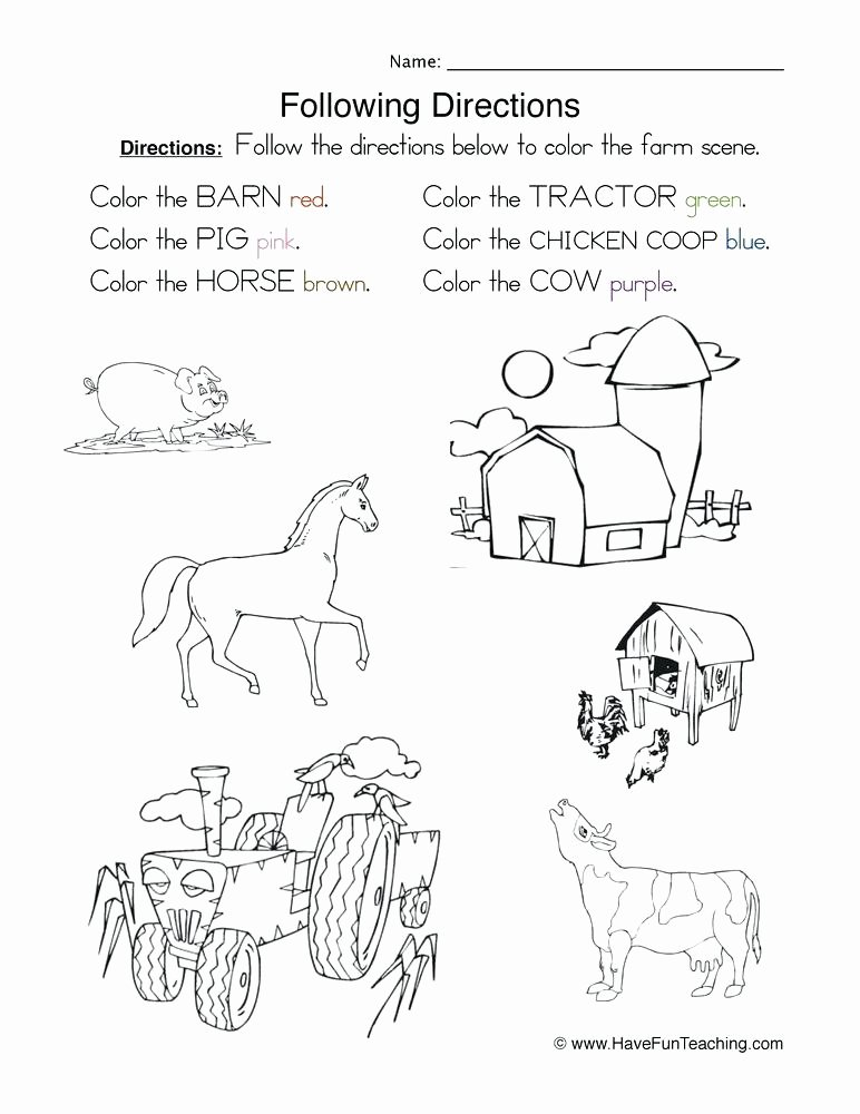 Following Directions Worksheet Kindergarten Best Of Following Directions Worksheets for Elementary Students
