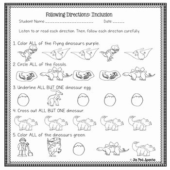Following Directions Worksheet Kindergarten Inspirational Following Directions Worksheets