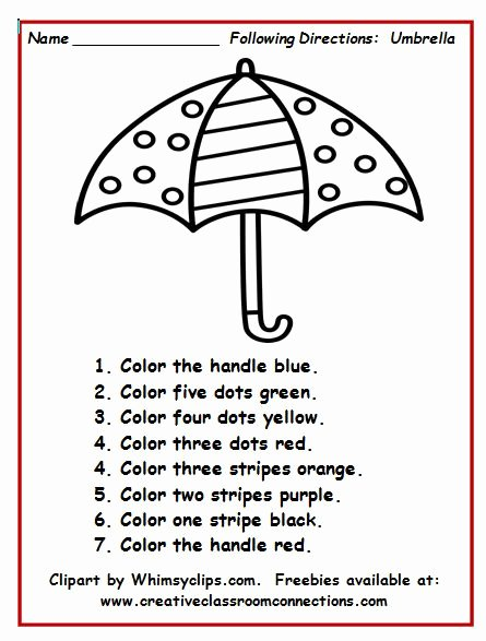 Following Directions Worksheet Kindergarten Inspirational Umbrella Worksheet with Simple Directions Provides