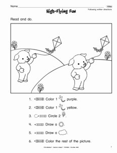 Following Directions Worksheet Kindergarten Lovely 13 Best Of Following Directions Worksheets