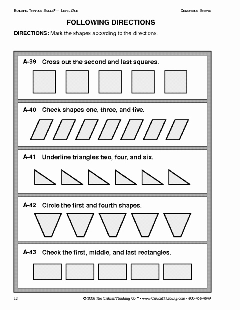 Following Directions Worksheet Kindergarten Lovely Critical Thinking Following Directions Worksheet