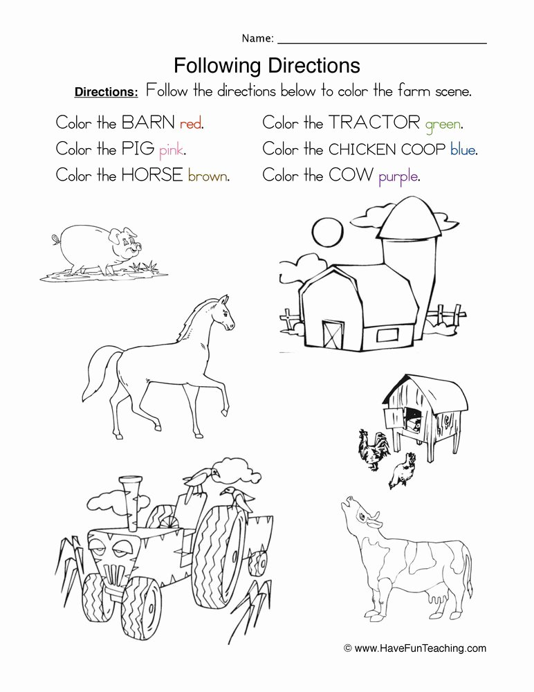 Following Directions Worksheet Kindergarten Lovely Following Directions Worksheet Coloring