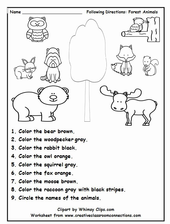 Following Directions Worksheet Kindergarten Luxury Following Directions is Fun with This Delightful forest