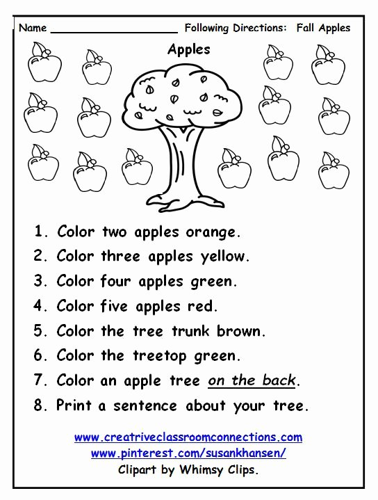 Following Directions Worksheet Kindergarten Luxury Free Following Directions Worksheet Provides Practice with