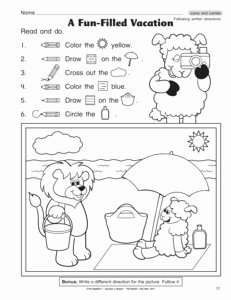 Following Directions Worksheet Kindergarten Luxury Results for Following Directions Worksheet