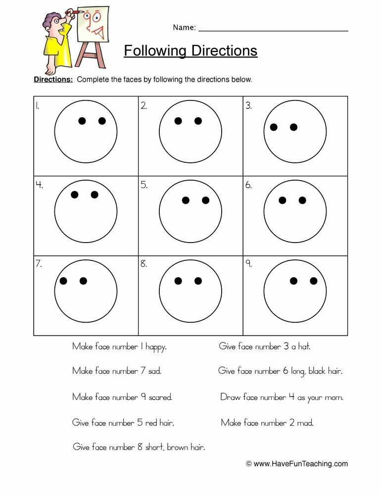 Following Directions Worksheet Kindergarten Luxury Smilies Follow Directions Worksheet