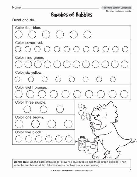 Following Directions Worksheet Kindergarten New Following Directions Worksheets for 1st Grade 1