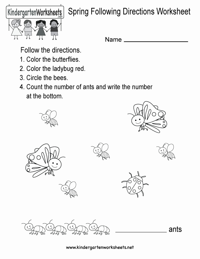 Following Directions Worksheet Kindergarten Unique Spring Following Directions Worksheet Free Kindergarten