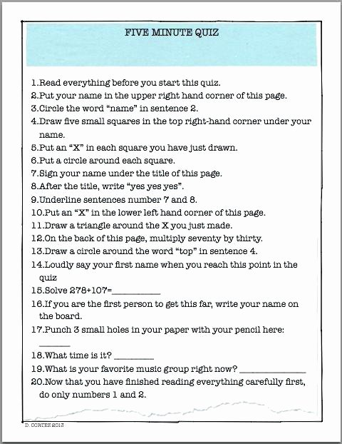 Following Directions Worksheet Middle School Beautiful Following Directions Worksheets for Elementary Students