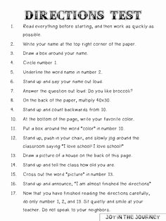 Following Directions Worksheet Middle School Fresh 1000 Images About Following Directions On Pinterest