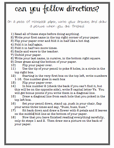 Following Directions Worksheet Middle School Inspirational Can You Follow Directions Charts