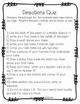 Following Directions Worksheet Middle School Lovely Following Directions Worksheet Trick High School
