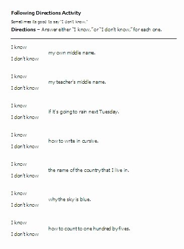 Following Directions Worksheet Middle School Lovely Following Directions Worksheets Middle School the Best