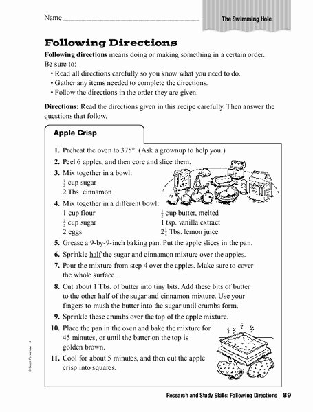 Following Directions Worksheet Middle School Luxury Research and Study Skills Following Directions Worksheet