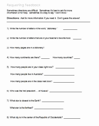 Following Directions Worksheet Middle School New Following Directions – Worksheets Activities Goals and