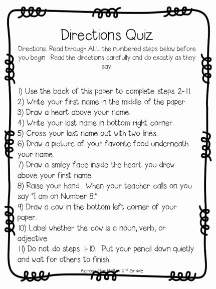 Following Directions Worksheet Trick Beautiful Classic Following Directions Quiz I Feel Like the Kids