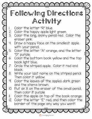 Following Directions Worksheet Trick Best Of Following Directions Worksheet