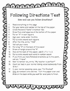 Following Directions Worksheet Trick Elegant Following Directions Trick Test Activity Tpt Freebie