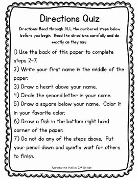Following Directions Worksheet Trick Elegant Following Directions Worksheet Trick High School