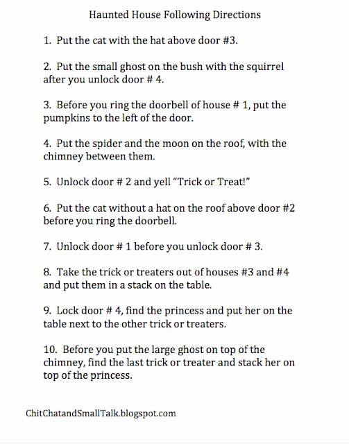 Following Directions Worksheet Trick Fresh Chit Chat and Small Talk Trick or Treating Practice