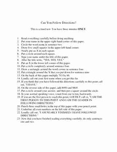 Following Directions Worksheet Trick Fresh Following Directions Trick Test