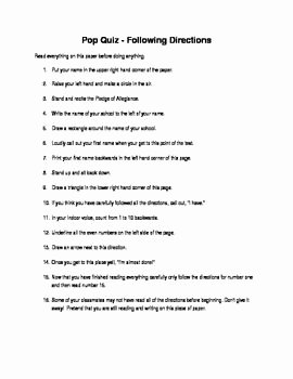 Following Directions Worksheet Trick Inspirational April Fools Day Following Directions Worksheet
