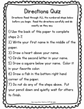 Following Directions Worksheet Trick Luxury Directions Quiz by Across the Hall