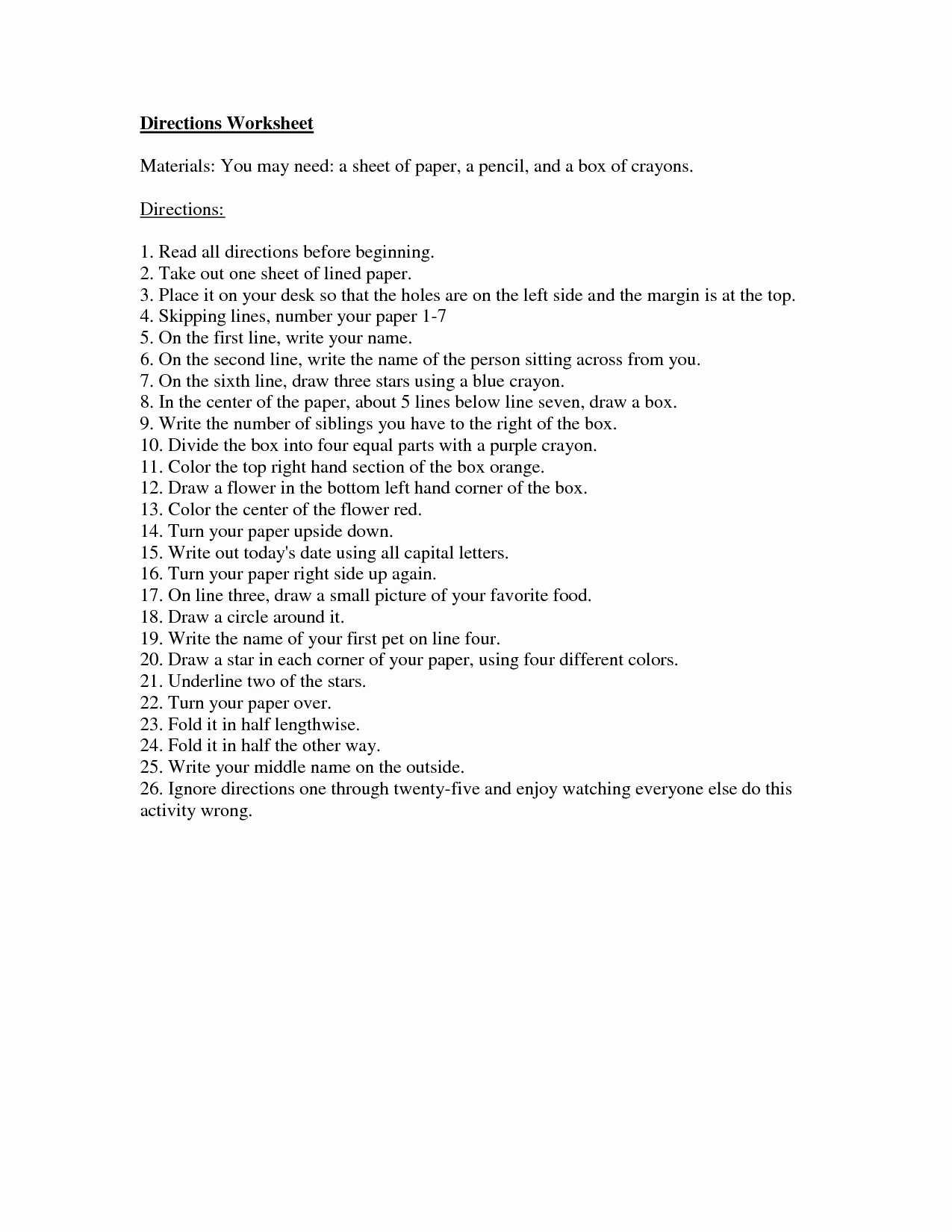 Following Directions Worksheet Trick Luxury Following Directions Worksheet Trick High School