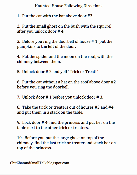Following Directions Worksheet Trick New Chit Chat and Small Talk Trick or Treating Practice